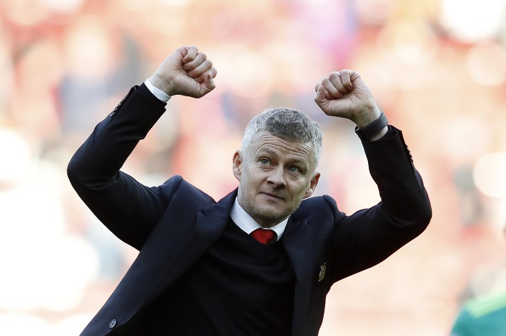 Ole Gunnar Solskjaer toasts victory in his first game as permanent Manchester United boss.