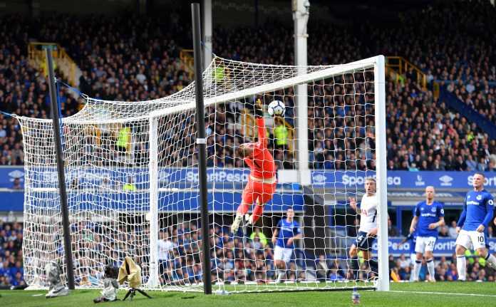 Luck was on Harry Kane's side as he reached a century of goals for Tottenham, lobbing Everton's Jordan Pickford with a cross from the byline in a comprehensive Premier League win at Goodison Park in September, 2017