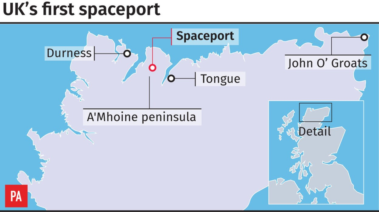 Vertical rocket and satellite launches are planned from the A'Mhoine peninsula in Sutherland