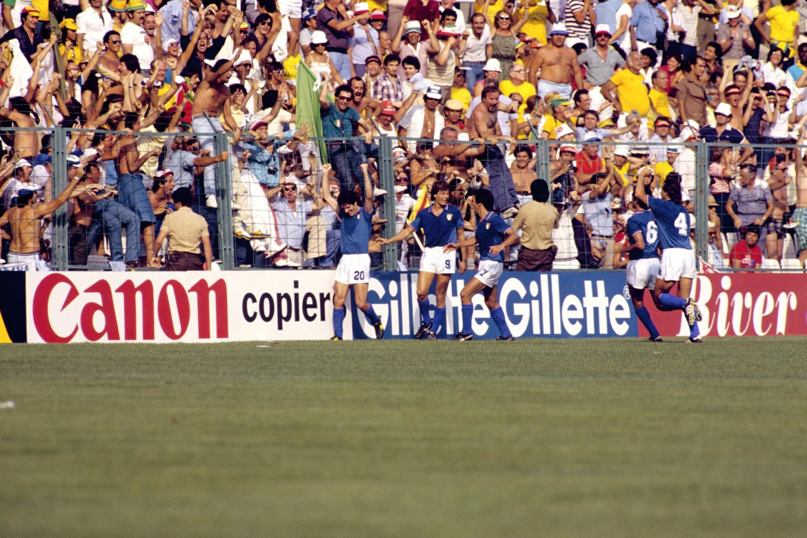 Paolo Rossi, far left, celebrates his winner for Italy against Brazil
