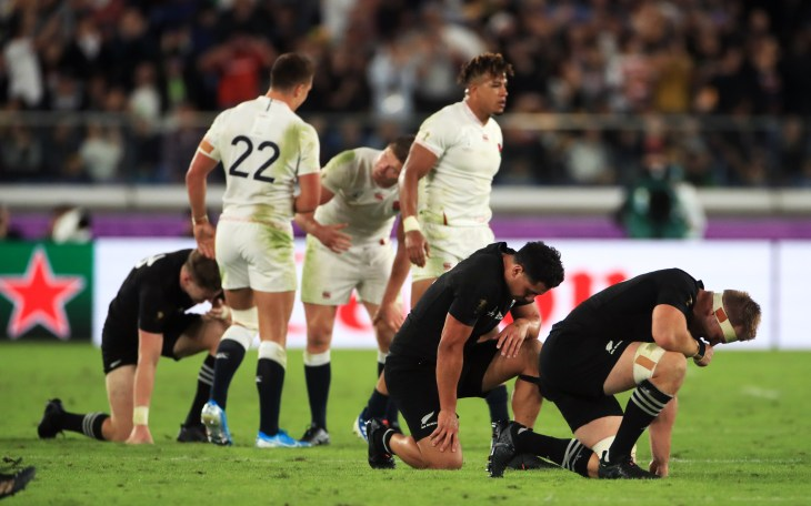 New Zealand players show the strain during their defeat by England