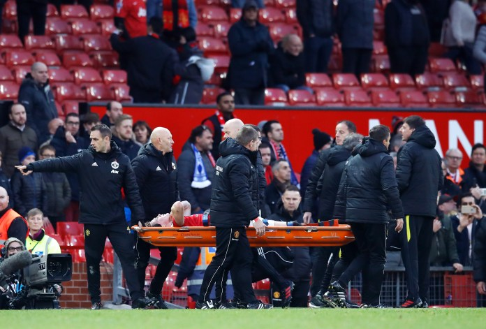 McTominay was carried off on a stretcher in Old Trafford