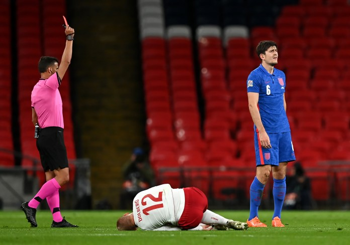 Harry Maguire is sent off against Denmark