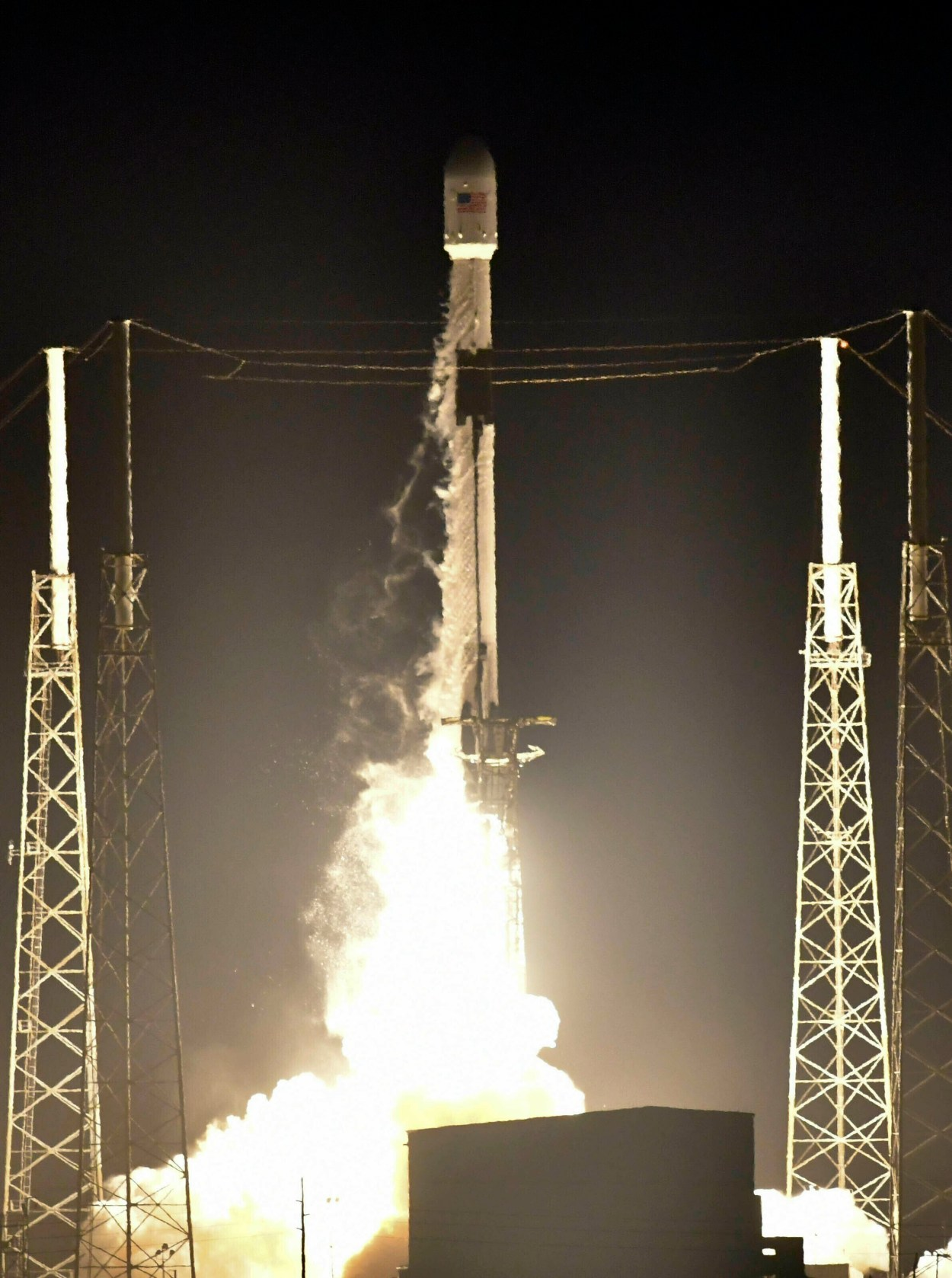 The SpaceX Falcon 9 rocket lifts off with Israel's Lunar Lander