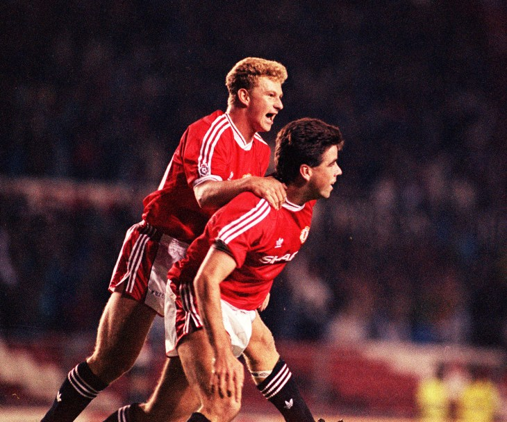 Neil Webb (right) was injured just weeks into his Manchester United career