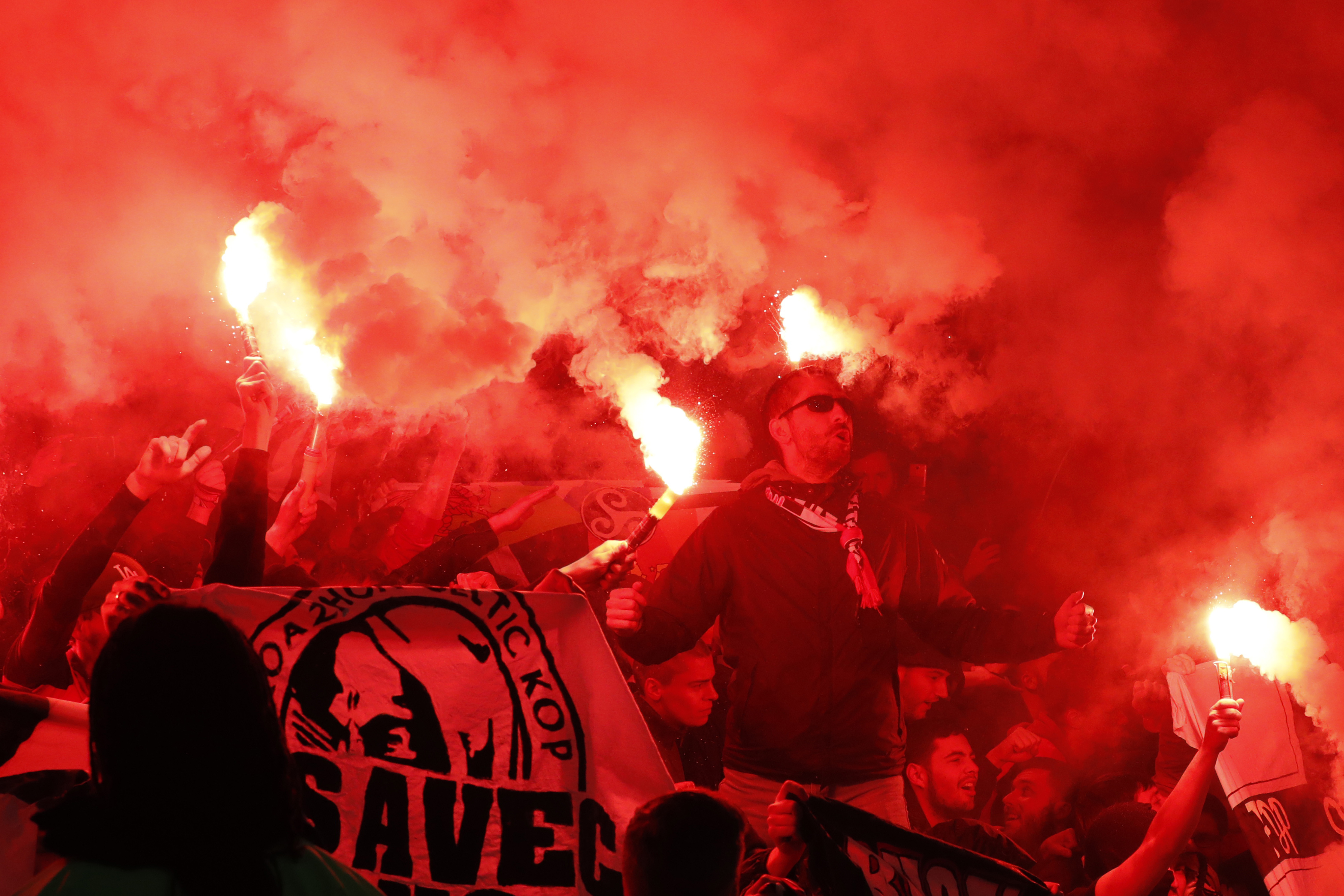 Rennes fans sought to try and cheer their side to victory at the Emirates Stadium