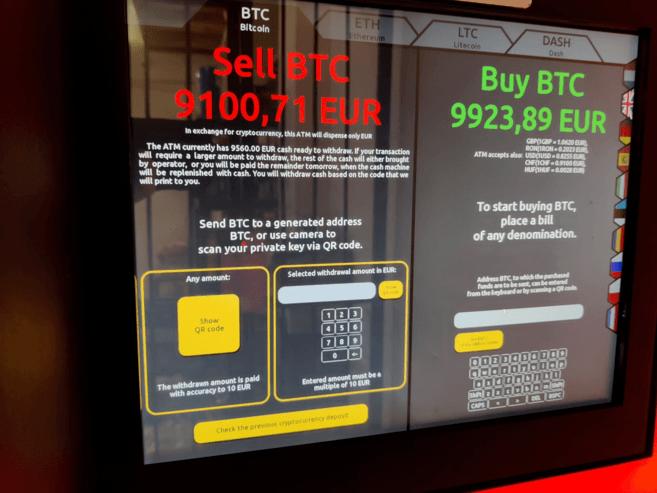 Màn hình máy ATM Bitcoin
