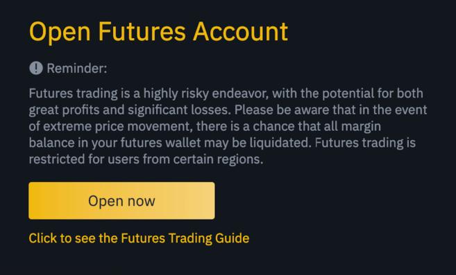 cách mở tài khoản binance futures