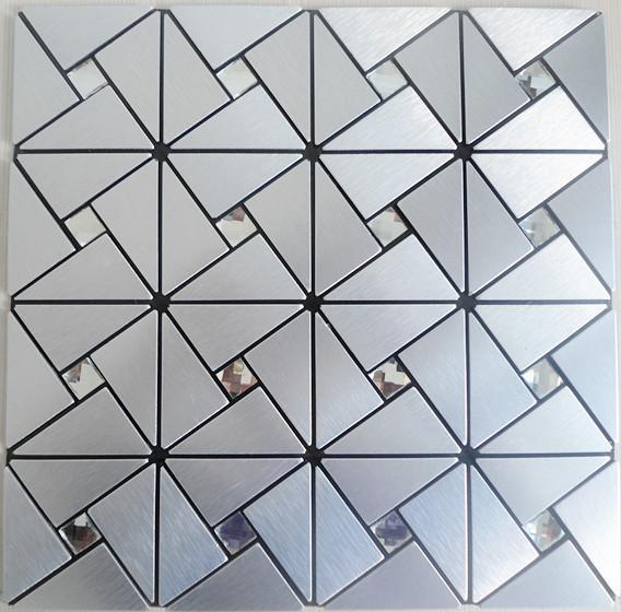 metallic mosaic tile backsplash triangle brushed diamond aluminum stai