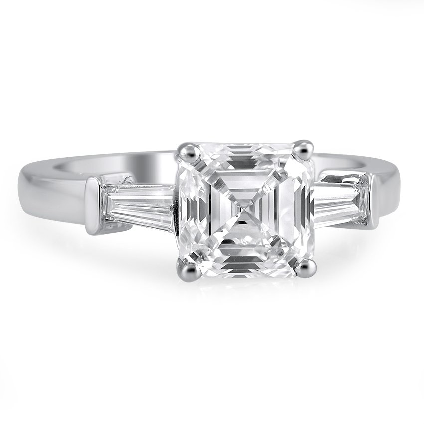 Custom Asscher And Tapered Baguette Diamond Ring