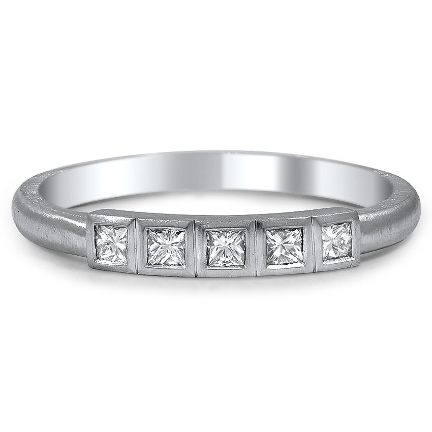 Custom Five Stone Bezel Princess Cut Diamond Ring