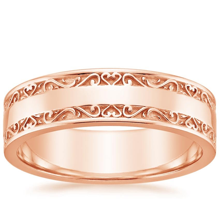 Wide Antique Scroll Wedding Ring In 14K Rose Gold