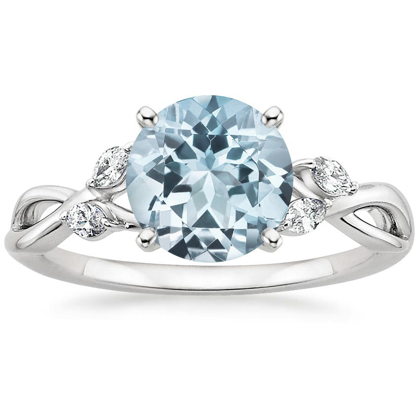 Aquamarine Willow Diamond Ring 18 Ct Tw In 18K White Gold
