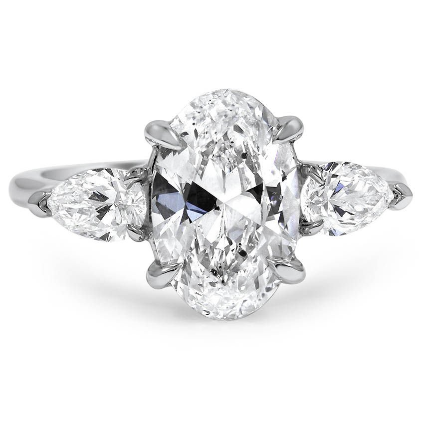 Custom Three Stone Diamond Engagement Ring With Pear