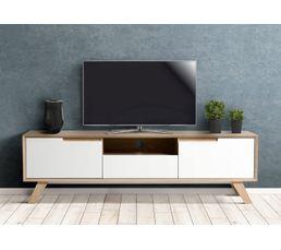 meuble tv scandinave gaby sonoma et blanc