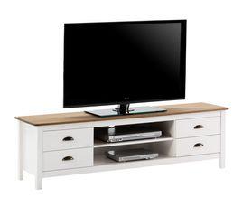 meuble tv campagne maya bois massif blanc