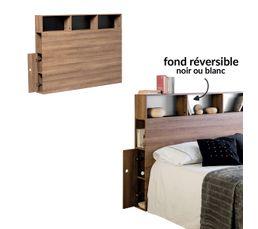 tete de lit avec rangements fonds reversibles noir blanc pablo coloris chene