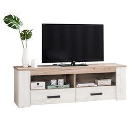 meuble tv campagne kent blanc et bois gris