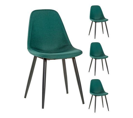 4 chaises lynette 2 verte pied noir pour le prix de 3