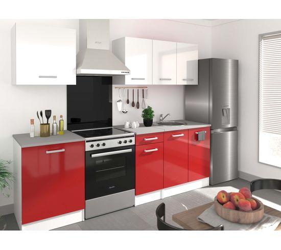 ensemble cuisine elibox rouge et blanc l 240 cm 6 meubles
