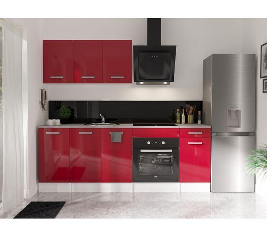 ensemble cuisine elibox rouge l 220 cm 6 meubles