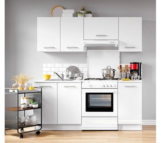 cuisine uno blanc mat l 180 cm 5 meubles
