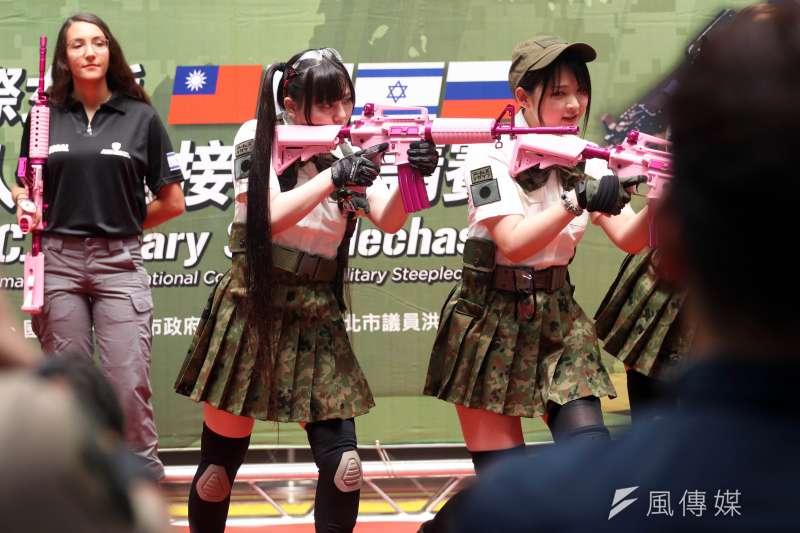 中華民國玩具槍協會將於本周六、日在台北圓山花博公園舉辦「2018迷彩嘉年華」活動,日本自衛隊退役的女性官兵生存遊戲玩家來台。(蘇仲泓攝)