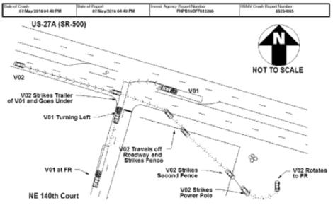 미국 플로리다 경찰의 테슬라 자율주행차 사고 현장 보고서. /플로리다 경찰 제공