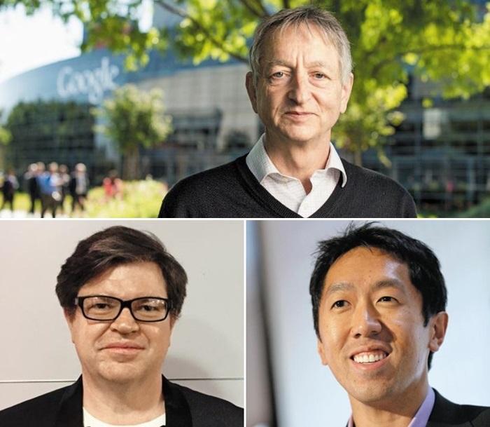 (위부터 시계 방향으로)인공지능 기술인 딥러닝의 창시자 제프리 힌턴 교수와 제자 앤드루 응·얀 레쿤.