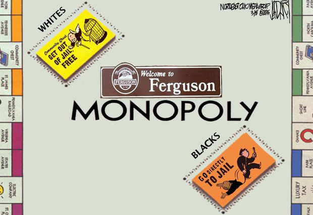 Monopoly game board in Ferguson, USA, cartoon