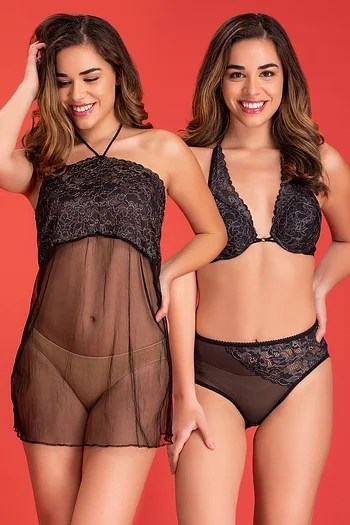 Front listing image for Bra & Panty Set with Sheer Babydoll & Thong in Black - Lace