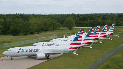 American Airlines Boeing 737 MAX jets sit parked at a facility in Tulsa, Oklahoma, U.S., May 10, 2019.