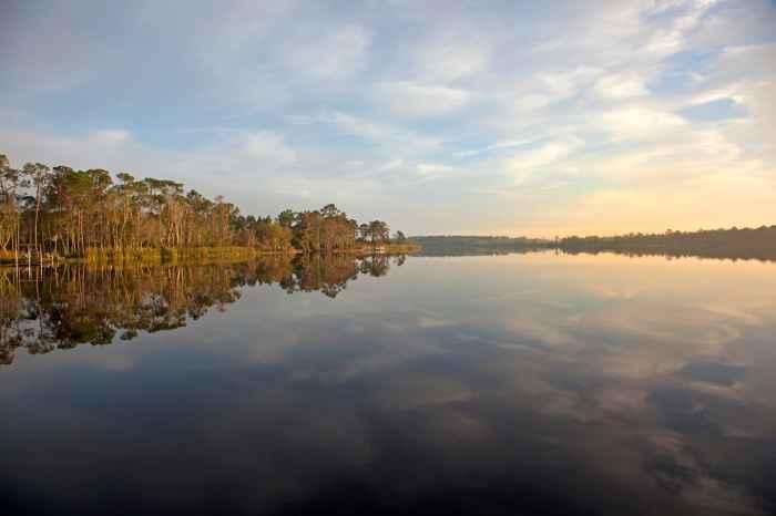 GI: reflection over lake with sunrise