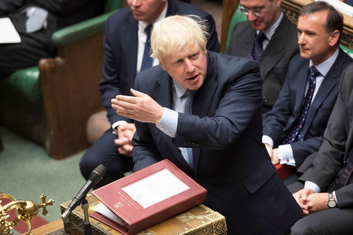 Britain's Prime Minister Boris Johnson speaks during Prime Minister's Questions session in the House of Commons in London, Britain September 4, 2019.