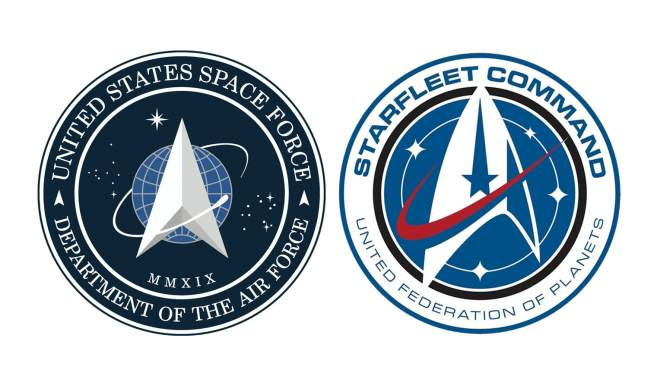H/o; United States Space Force Logo vs Starfleet Command Logo