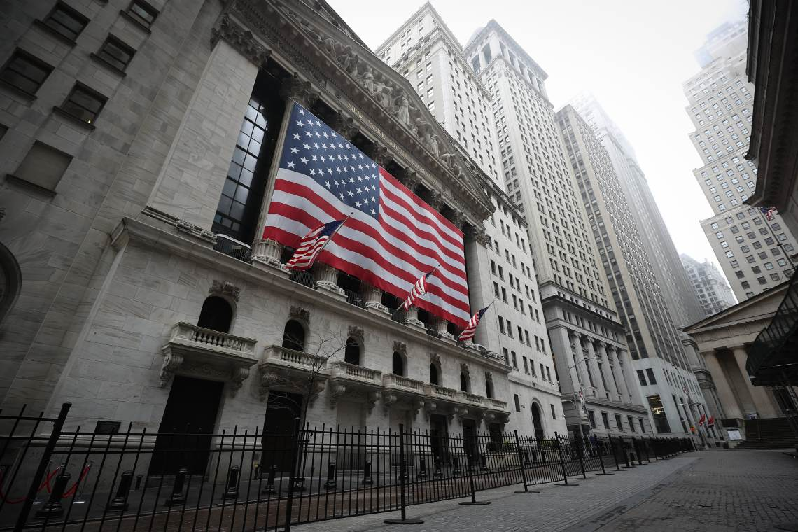New York Stock Exchange building is seen at the Financial District in New York City, United States on March 29, 2020.