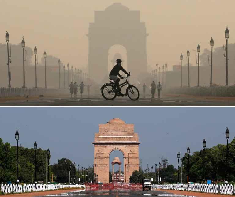 RT: Coronavirus Environmental impact: A combo shows the India Gate war memorial in New Delhi