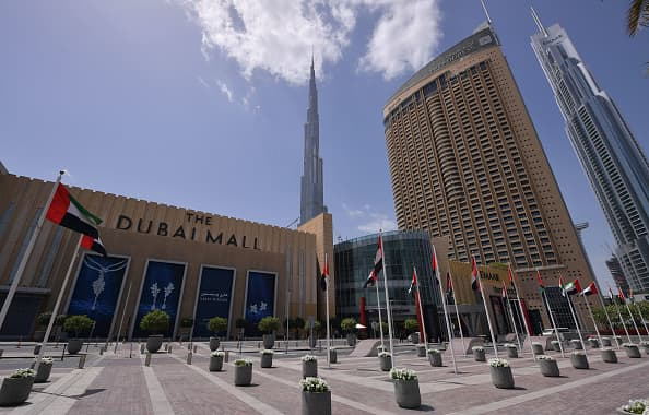 A picture shows the closed compound of the Dubai Mall amid the COVID-19 coronavirus pandemic on March 23, 2020 in the United Arab Emirates