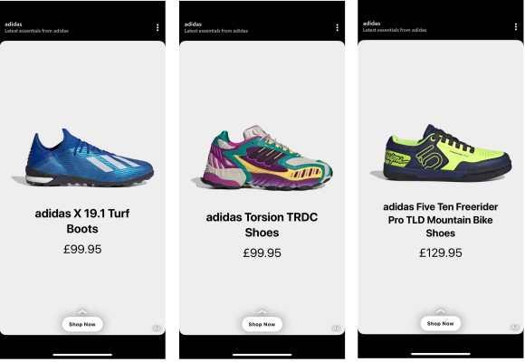 شاركت Adidas في اختبار تجريبي لإعلانات المنتجات الديناميكية الجديدة من Snap ، والتي تم طرحها دوليًا في يونيو 2020.