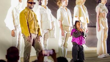 "Kanye West and daughter North West attends the ""Yeezy Season 8"" show as part of the Paris Fashion Week Womenswear Fall/Winter 2020/2021 on March 02, 2020 in Paris, France."