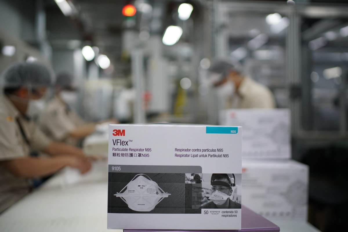 At the onset of the coronavirus pandemic, production of N95 respirators was ramped up to 24/7 at 3M's global manufacturing centers.