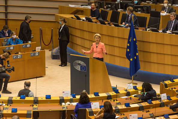 European Commission President Ursula von der Leyen delivers her first State of the Union speech of 2020 on 16 September in Brussels, Belgium.
