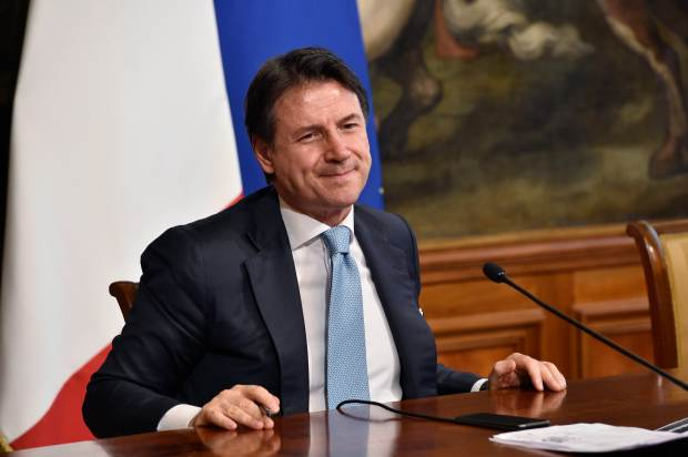 Italian Prime Minister Giuseppe Conte holds a press conference on July 7, 2020 in Rome, Italy.