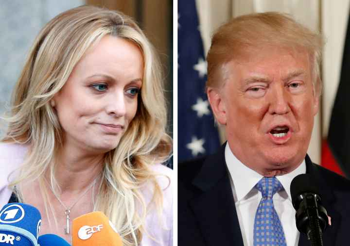 A combination photo shows Adult film actress Stephanie Clifford, also known as Stormy Daniels speaking in New York City, and U.S. President Donald Trump speaking in Washington, Michigan, U.S. on April 16, 2018 and April 28, 2018 respectively.