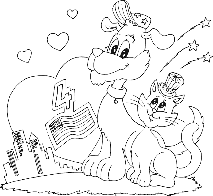 dog and cat fourth of july coloring page coloring com