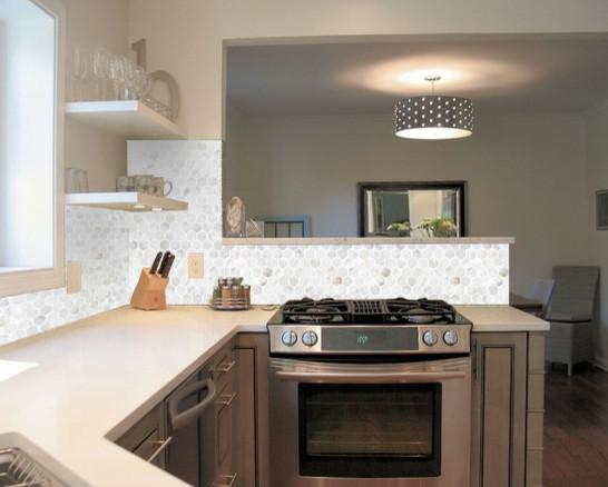 Mother Of Pearl Shell Mosaic Hexagon Seashell Kitchen