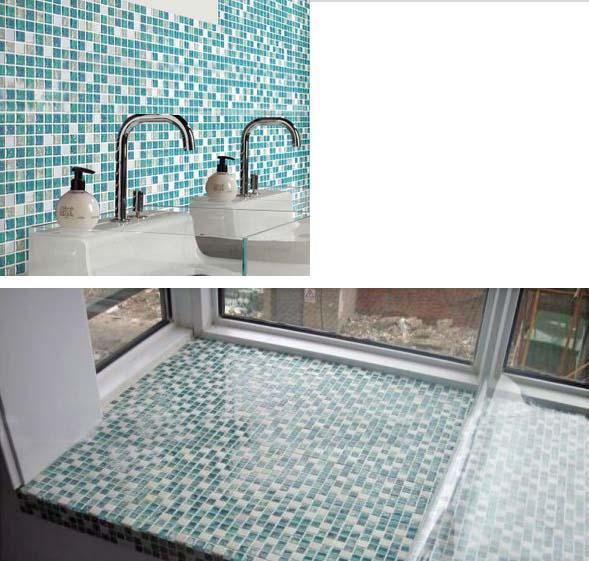 Crackle Glass Mosaic Tile Backsplash Blue Mosaic Stone Tiles Stbl001