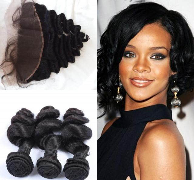 g-easy virgin hair weaves with closure 13x4 lace frontal three peruvian bundles loose wave rihanna hair with closure