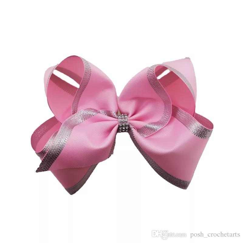 8 Inch Pink Jojo Bows Christmas Children Hair Accessories