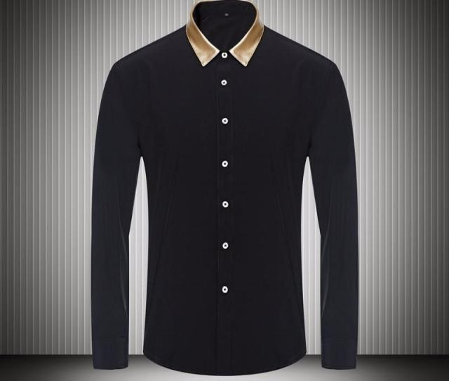 Gold Color Collar Black White Mens Dress Shirts For Business Long Sleeve Slim Fit  Fashion Autumn Fall Mens Designer Clothes From Happy_weddings